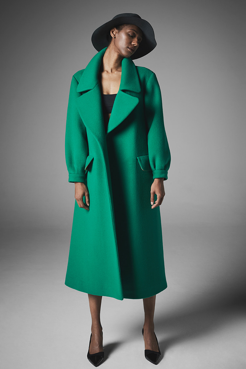 JOOSOOLOO > DEEP GREEN WOOL COAT (리미티드 완판)