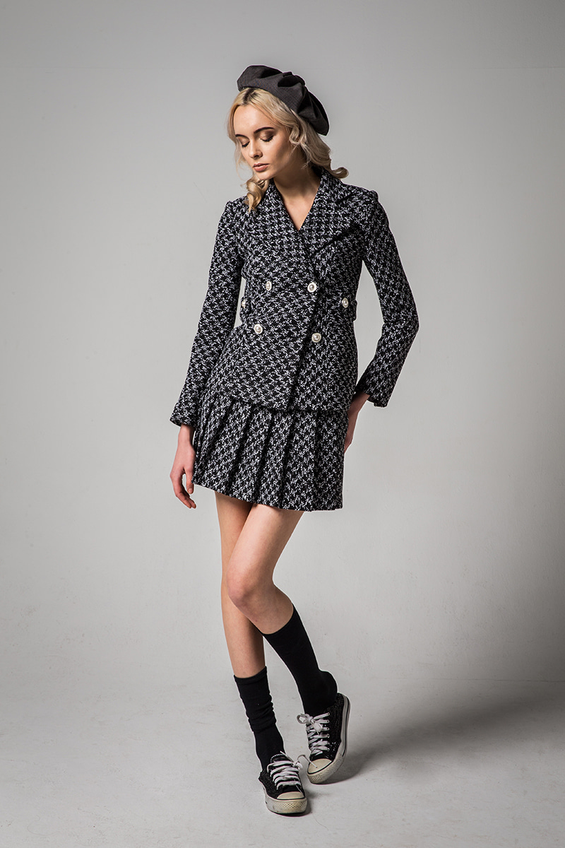 JOOSOOLOO > BLACK AND WHITE PATTERN TWEED JACKET [현아착용][산다라박 착용]