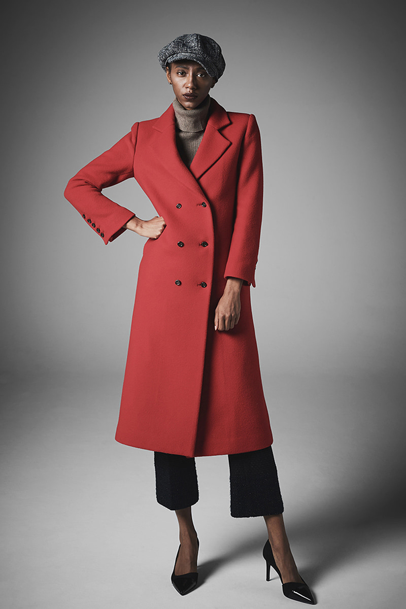 JOOSOOLOO > ONE LINE WOOL COAT  (즉시발송)(연보라완판)