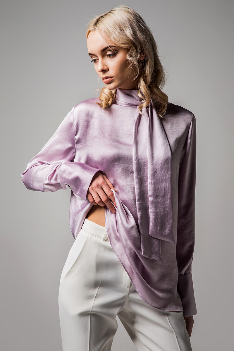 JOOSOOLOO > BACK RIBBON BLOUSE(PURPLE)