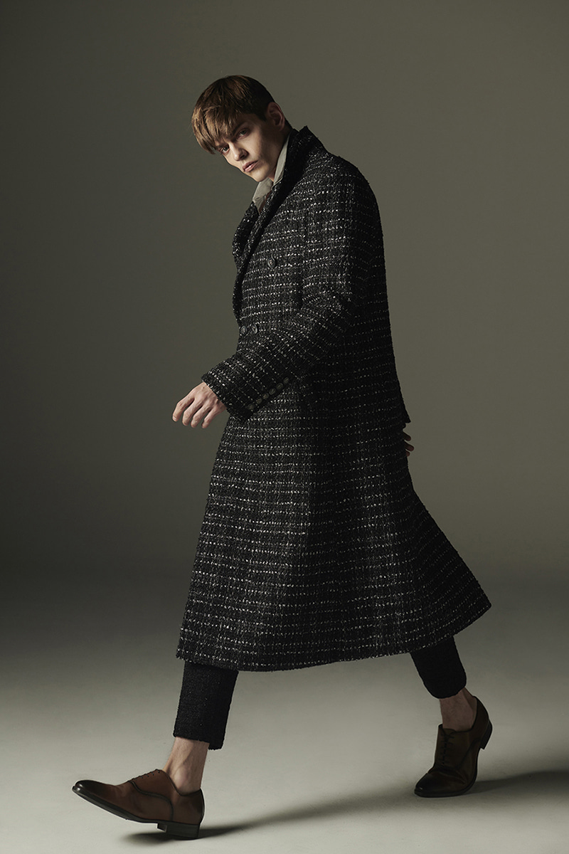 JOOSOOLOO > MEN'S SILVER MIX TWEED COAT