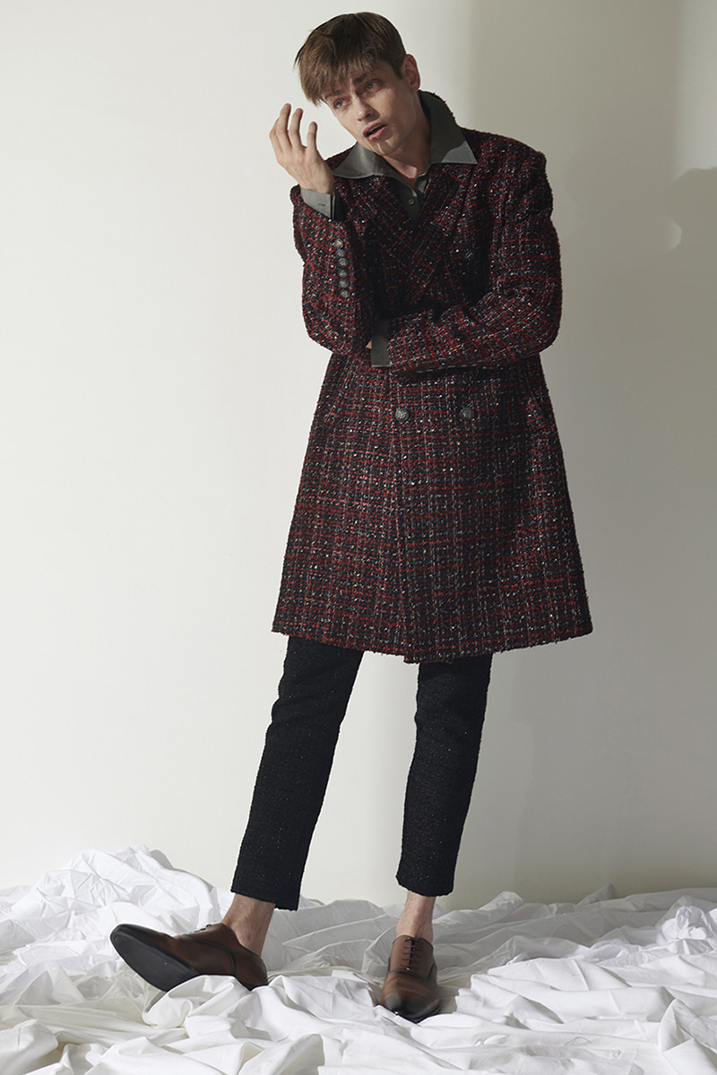 JOOSOOLOO > MEN'S RED MIX TWEED COAT